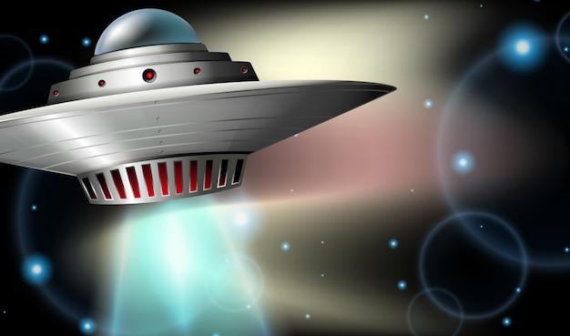 Nave espacial volando en el espacio oscuro