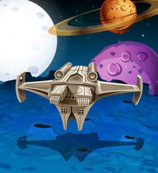 Nave espacial volando en el espacio
