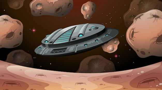Nave espacial volando sobre marte