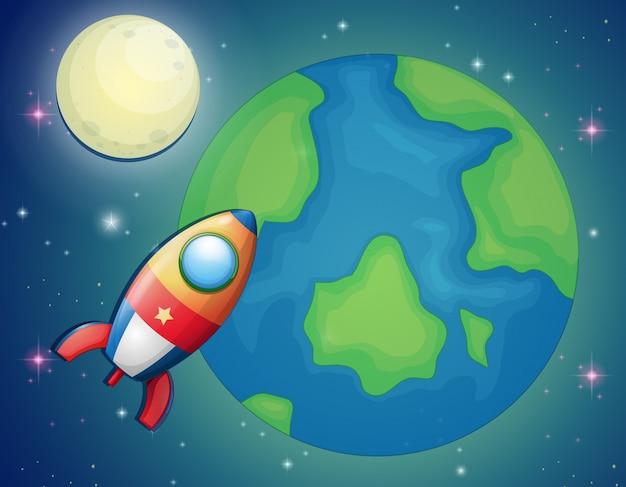 Nave espacial volando sobre el mundo