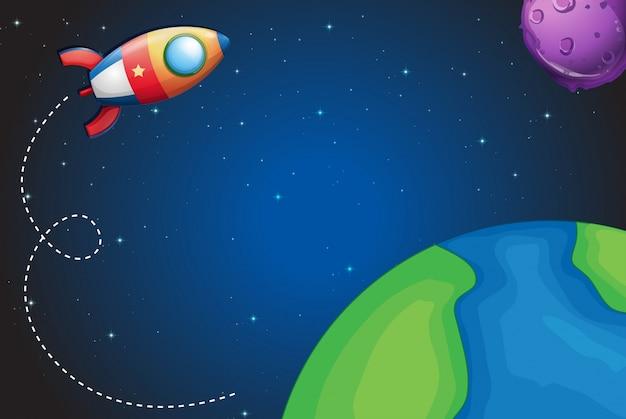 Nave espacial volando sobre la tierra
