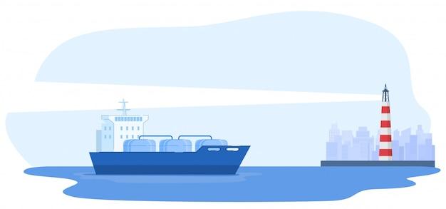 La nave grande amarra en ciudad, faro, fondo urbano, bandera del concepto de la industria, ilustración plana, aislada en blanco.