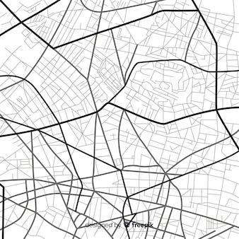 Navegación de la ciudad en blanco y negro en el mapa