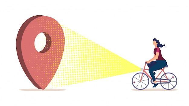 Navegación de la ciudad para el concepto de vector plano de ciclistas