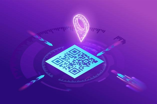 Navegación gps mediante código qr, aplicación móvil para encontrar la ubicación en el mapa, escaneo de etiquetas para identificar el lugar, isométrico 3d, degradado púrpura