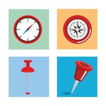 Navegación gps establece iconos