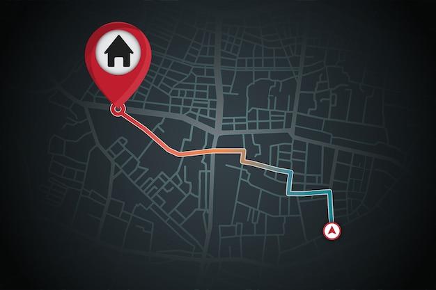 La navegación gps genera desde su ubicación hasta la casa
