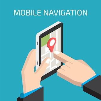 Navegación gps móvil con smartphone en mano.