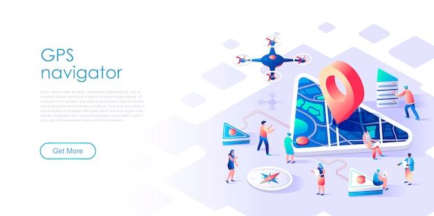 Navegación gps de página de aterrizaje isométrica o concepto plano de soporte