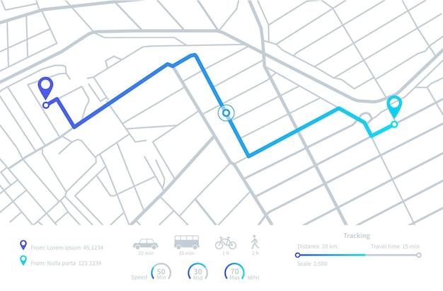 Navegacion gps. planificación de rutas. mapa de navegación móvil con calles de la ciudad de ubicación. seguimiento de distancia. elementos de la interfaz del tablero de instrumentos del vector. ilustración ruta gps de carretera, interfaz de mapa de ruta de distancia