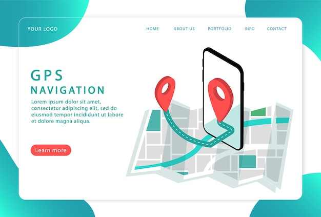 Navegación gps, ubicación. navegación móvil,. página de destino. páginas web modernas para sitios web.