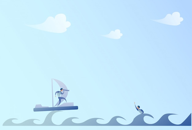 Navegación del hombre de negocios en el barco que mira con binocular en concepto de la ayuda de swimming del hombre de negocios