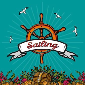 Navegación. imagen vectorial dibujada a mano sobre un fondo azul