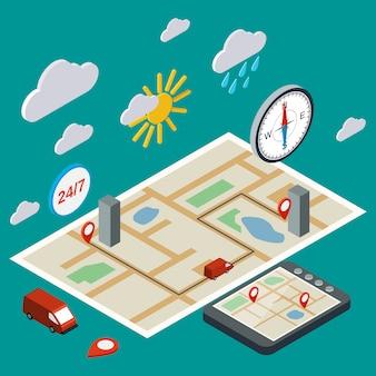 Navegación móvil, transporte, logística isométrica plana 3d ilustración. concepto de infografía moderna web