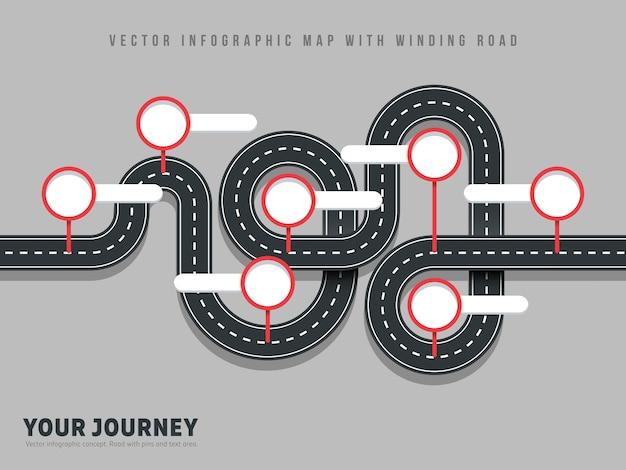 Navegación sinuoso camino vector forma mapa infografía en gris