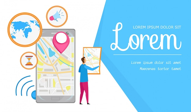 Navegación urbana app flat banner