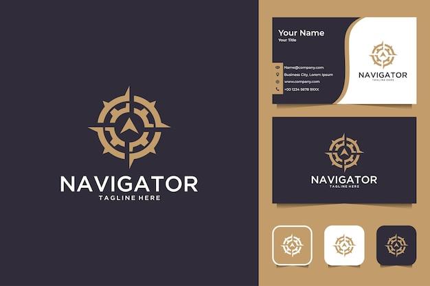 Navegador con diseño de logotipo de engranajes y tarjeta de visita.
