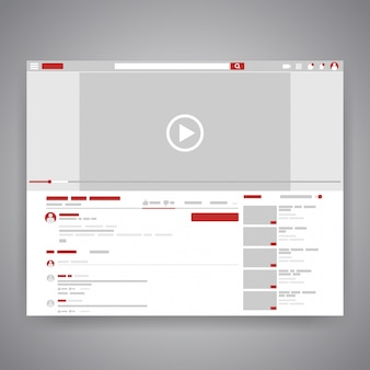 Navegador web medios sociales interfaz de reproductor de video youtube.