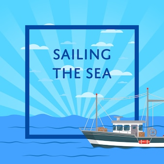 Navegando la ilustración del mar con una pequeña embarcación