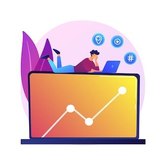 Navegando en la red. personaje de dibujos animados sentado en una computadora portátil grande y buscando información en internet. archivo multimedia, geolocalización, hashtag.