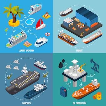Naves barcos 4 iconos isométricos cuadrados