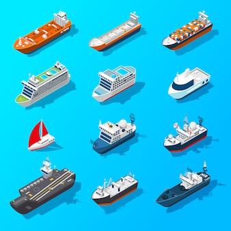 Naves barcos buques conjunto de iconos isométricos