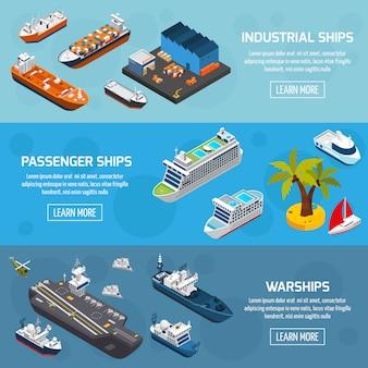 Naves barcos embarcaciones isométrica conjunto de banners