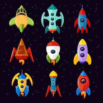Naves espaciales de dibujos animados aisladas sobre fondo blanco