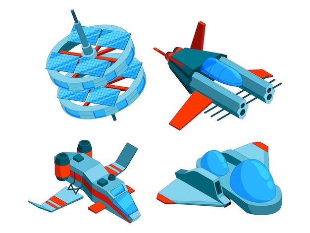 Naves espaciales isométricas. tecnología de construcción de varios tipos de buques bombarderos de guerra de carga y naves espaciales aéreas de baja poli 3d aisladas