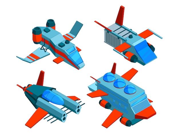 Naves espaciales isométricas. tecnologías espaciales de carga y buques de guerra bombardero aéreo 3d naves espaciales de baja poli aisladas