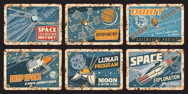 Naves espaciales y satélites placas oxidadas, carteles de hojalata