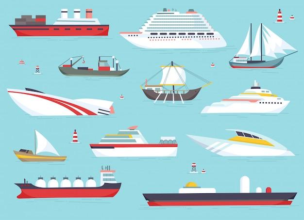 Naves en el mar, barcos de envío, conjunto de iconos de vector de transporte marítimo.
