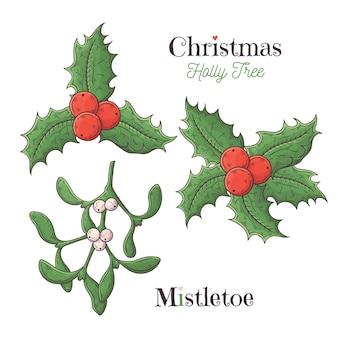 Navidad acebo y muérdago blanco