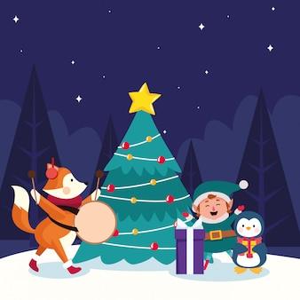 Navidad animales lindos y ayudante de santas con árbol de navidad durante la noche nevada, ilustración