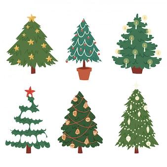 Navidad año nuevo árbol iconos ornamento estrella navidad regalo vacaciones celebración invierno temporada fiesta árbol planta.
