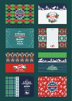 Navidad y año nuevo conjunto. cuadros y fondos de punto.