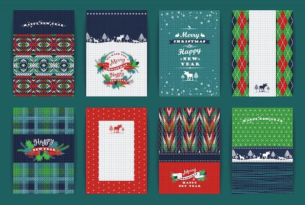 Navidad y año nuevo conjunto. cuadros de punto fondos.