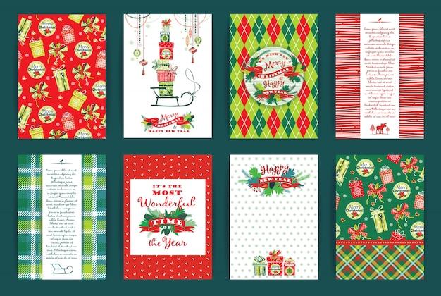 Navidad y año nuevo conjunto. plantillas de diseño vectorial.