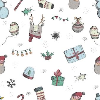 Navidad y año nuevo sin fisuras patrón de ahogamiento de la mano del vector decoraciones navideñas