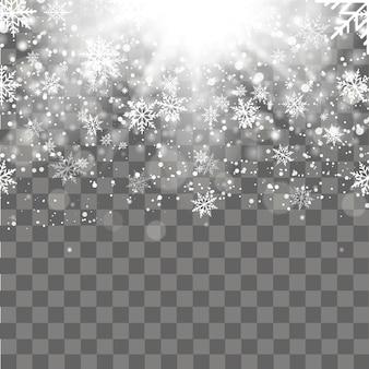 Navidad y año nuevo fondo transparente con copos de nieve cayendo de oro