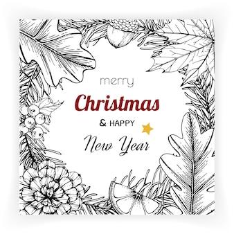 Navidad y año nuevo fondos y tarjeta de felicitación.