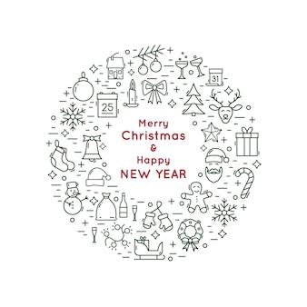 Navidad y año nuevo icono de la línea corona.