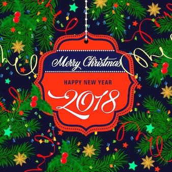 Navidad y año nuevo inscripción en la etiqueta