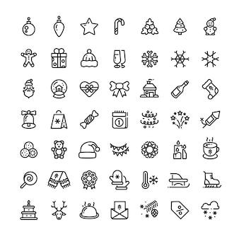 Navidad y año nuevo línea vector iconos. conjunto de símbolos de esquema de invierno de navidad