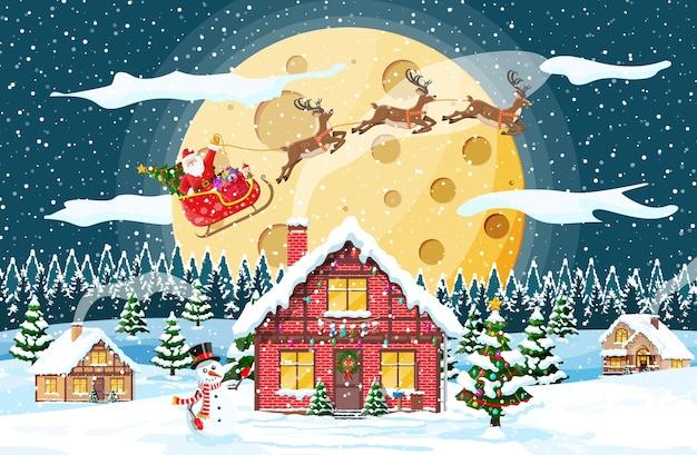 Navidad año nuevo paisaje invernal