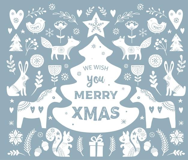Navidad, banner elementos dibujados a mano en estilo escandinavo
