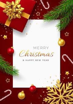 Navidad con banner de papel cuadrado, caja de regalo roja realista con lazo dorado, ramas de pino, estrellas doradas