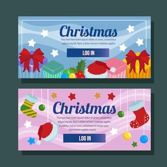 Navidad banner plantilla horizontal vacaciones regalo estilo plano
