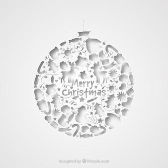 Navidad bola blanca tarjeta de navidad