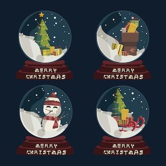 Navidad en bola de cristal para la ilustración de vector de decoración